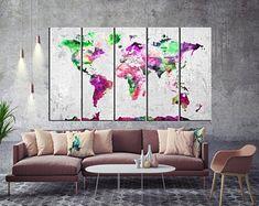 Large Canvas Prints Modern Wall Art for Home & by WALLARTSDECOR Blue Wall Decor, Canvas Wall Decor, Tree Wall Art, Wall Art Prints, Canvas Artwork, World Map Canvas, World Map Wall Art, Unique Wall Art, Modern Wall Art