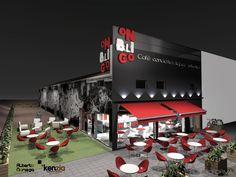 Cafeteria, Exterior, Jardin estilo moderno color rojo, marron, negro diseñado por Kenzia   Interiorista