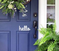 hello Front Door Vinyl Decal Sign Simple and by WordFactoryDesign