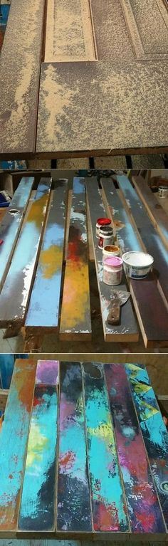 "This table top was made from a reclaimed old door. The client had the base. Trash Studio worked with the client to get the colors just perfect for its new home. Here is a quote from the client: ""This table is perfect. Trash Studio did an amazing job. I love watching guest's face as they figure out that the table used to be a wood door. Thank you Dawn! """