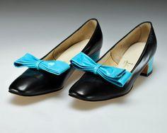 Vintage 1960's Black with Teal Bow Joseph La Rose Shoes $65