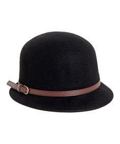 Look at this #zulilyfind! Black & Brown Buckle-Accent Wool Cloche #zulilyfinds