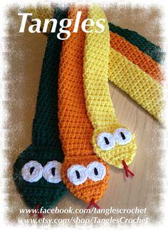 Children's Snake Scarf Boys by TanglesCrochet on Etsy