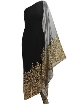 Nikhil Thampi presents Black floral embroidered kaftan saree with black net churidaar available only at Pernia's Pop Up Shop. African Fashion, Indian Fashion, Womens Fashion, Luxury Fashion, Hijab Fashion, Fashion Dresses, Indian Wear, Indian Outfits, Beautiful Dresses