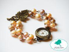 Ceas Pietre semipretioase: perle de cultura Inchizatoare tip frunza Poate fi realizat si pe alte culori Bracelet Watch, Handmade Jewelry, Passion, Bracelets, Accessories, Bead, Bangles, Arm Bracelets, Bracelet