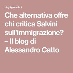 Che alternativa offre chi critica Salvini sull'immigrazione? – Il blog di Alessandro Catto Costume, Blog, Costumes, Blogging, Fancy Dress, Costume Dress