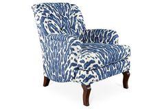 Avon Club Chair, Indigo/White Girl gone wild (that would be me)