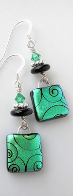 Glass Earrings by Vitrum Studio.com. Use Friendly Plastic: drag a tool through the soft f.p.; add beads.