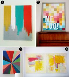 Some good simple art ideas- piece of cake. Roundup: 10 MORE Affordable DIY Modern Wall Art Projects!