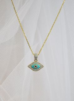 Turquoise and Diamond Evil Eye Necklace by BroadOptions on Etsy, $350.00