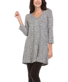 Look what I found on #zulily! Gray Marled V-Neck Tunic - Plus #zulilyfinds