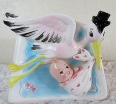 Vintage Eneco Japan Stork Delivering Baby Planter Vase  E2178 ** Epsteam