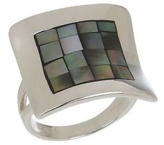 Mosaic Mother-of-Pearl Sterling Concave Design Ring