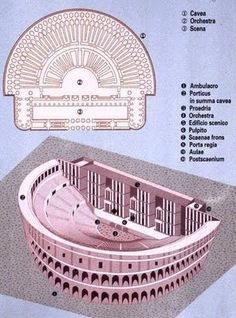 Basic layout of a Roman theatre. Some Roman theatres, constructed of wood, were torn down after the festival for which they were erected concluded. This practice was due to a moratorium on permanent theatre structures that lasted until 55 BCE when the The Ancient Rome, Ancient Greece, Ancient Art, Ancient History, Theatre Architecture, Roman Architecture, Historical Architecture, Roman History, Art History