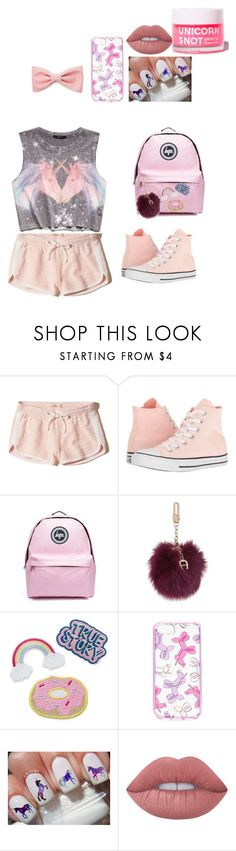 """Unicorn Summer"" by ella-kicks ❤ liked on Polyvore featuring beauty, Hollister Co., Forever 21, Converse, Topshop, Etienne Aigner, Kate Spade, Lime Crime and FCTRY"
