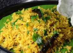 Aval (Poha) Biryani Best served with Papads and Pickle.