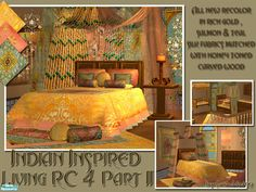 The remaining recolor files to my 4th recolor set for my Indian Inspired series. Warm, rich gold, salmon & teal silk fabrics. These will complete the bedroom and Nursery. Meshes required....