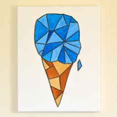 iLoveToCreate Blog: Easy Geo Canvas Art - Ice Cream Cone