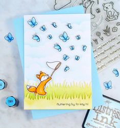 Fluttering By To Say Hi. After such a lovely bank holiday weekend it's nice knowing I still have another week off work (perks of being a… Lawn Fawn Blog, Lawn Fawn Stamps, Cute Dinosaur, Bank Holiday Weekend, Scrapbook Cards, Scrapbooking Ideas, Cute Images, Copics, Say Hi