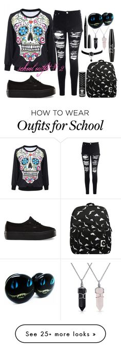 """""""School Outfit #2"""" by chickadeeanya on Polyvore featuring Bling Jewelry, Vans, Glamorous, Forever 21, NYX, Manic Panic and Marc Jacobs"""