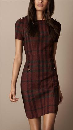 Burberry Brit Fitted Check Dress
