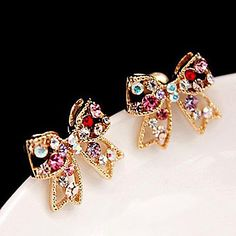 kvinders koreanske diamant bue søde øreringe E450 – EUR € 0.99