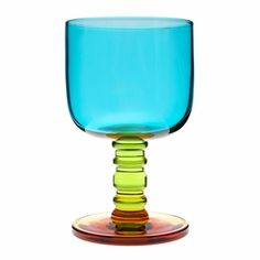 "Marimekko ""Socks Rolled Down"" Turquoise / Green / Yellow Goblet"