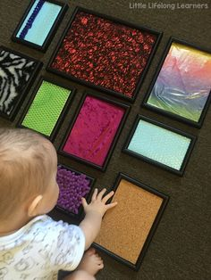 Sensory play ideas for babies | activities for playing with your baby | 3 month old | 6 month old | learning at home | DIY sensory photo frames | exploring touch and feel |