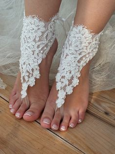 Free ship ivory Beach wedding barefoot sandals shoes by ByVIVIENN