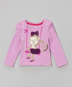 Purple Monkey Ruched-Sleeve Top - Toddler