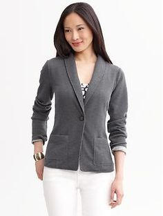 Banana Republic - Textured Knit One-Button Blazer  - Dark Charcoal   - Long Sleeves, Shawl Collar  - One-button Closure, Front Patch Pockets, Single Back Vent