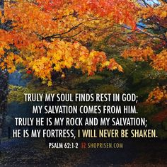 My soul finds rest in God!  And I will never be shaken!