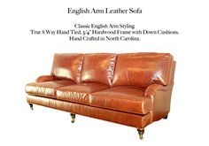 English Arm Leather Sofa by Casco Bay Furniture - A Premier Leather Furniture Collection superbly made by skilled craftsman by one of North Carolina's foremost high end specialty leather manufacturers. This set features: True Eight-way hand-tied spring suspension (Built to Last a Lifetime!), free Down Blend Seat Cushions and Back Cushions, 100% Kiln-dried, double-doweled, corner blocked, hardwood frames for maximum durability. Custom options available! #CascoBayFurniture #leathersofa Leather Furniture, Leather Sofa, Casco Bay, Classic Sofa, Furniture Collection, Seat Cushions, Craftsman, Hardwood, Frames