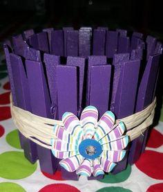 Clothespin Candle Holder - Dark Purple with Decorative flower #Handmade