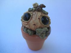 Cute Creature Pumpkin Clay Monster Potted Plant Sculpture by…