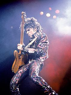 "Prince played arguably the greatest power-ballad guitar solo in history (""Purple Rain""), and his solo on an all-star performance of ""While My Guitar Gently Weeps"" during George Harrison's Rock and Roll Hall of Fame induction in 2004 had jaws on the floor. Prince Purple Rain, Prince Rogers Nelson, Prince Dead, My Prince, Simon Le Bon, John Taylor, Brooke Shields, Tina Turner, Purple Rain"