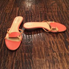 """Ann Taylor LOFT Slide Sandals - 'Tina' Style Perfect for summer with shorts, skirts, or capris. Barely worn - very little sign of wear on heels/souls. 2"""" wide at narrowest part in middle of shoe - see picture. Small area where lining has come off. Foot covers this when wearing. Black area on sole - cannot see when wearing. Otherwise, cannot really tell that these have been worn. Will accept offers accordingly. Have this same style and size available in turquoise also. LOFT Shoes Sandals"""