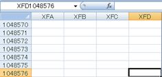 Excel2007 has A to XFD ,16384 columns .