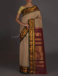 Sandhya Beige And Maroon Marvel #GadwalSilkCottonSaree