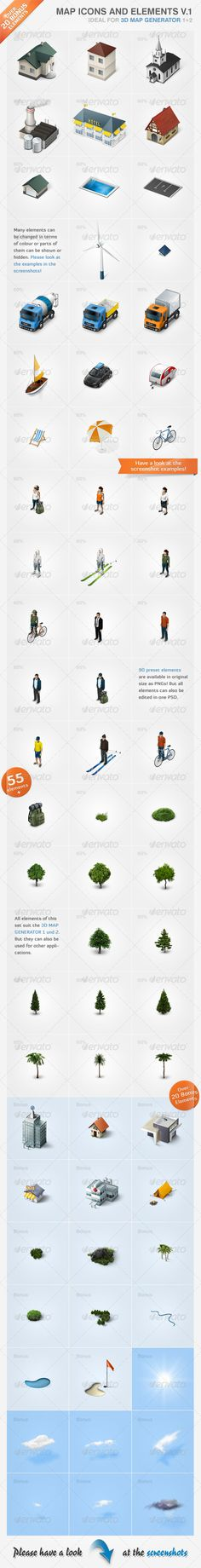 55 high quality icons, designed to be used on an isometric map layout…