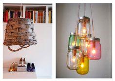 Lámparas hechas con objetos reciclados que tenemos por casa como tarros, cestas, botellas de cristal, ...