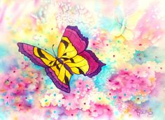 Watercolor Butterfly Spring Flowers by Artist by MarthaKislingArt