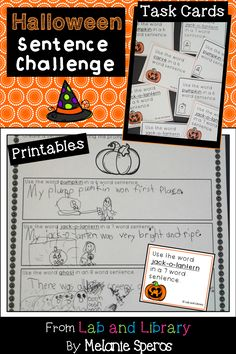 FUN Literacy Center or independent activity for Halloween! 36 task cards, 10 printables, 1 recording sheet. Excellent for oral language development and review of Language CCSS! $2.00