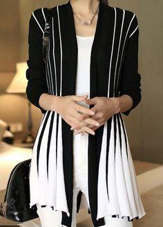 Trendy Stripe Print Cardigan