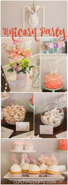 What a gorgeous, glittery first birthday party with a unicorn theme! See more party ideas at CatchMyParty.com!