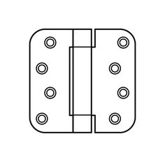 """Hager 1752-4 4"""" x 4"""" Mortise Spring Hinge with 5/8"""" Radius Corners - Pair Antique Brass Lacquered Door Hinge Spring 3 1/2 x 3 1/2"""