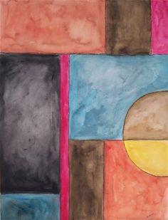 Geometric Abstract Original Signed Watercolor by justforfunbyjodi, $50.00