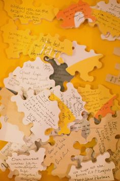 Puzzle Piece Guest Book; adorable idea. #wedding #weddinginvitations