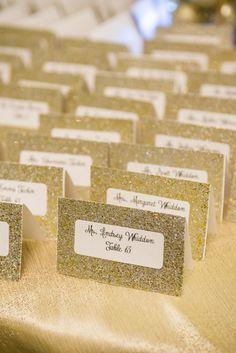 Gold Glitter Escort Cards | photo by starfishstudios.com