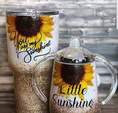 cute cups You are my Sunshine Sunflower Mom and Me Gold Chunky Glitter Tumblers (EACH SOLD SEPARATELY!) Current turnaround time: Approximately 6 Weeks**Please note that turnaround times are Sunflower Nursery, Sunflower Baby Showers, Glitter Rosa, Glitter Cups, Glitter Glasses, Loose Glitter, Diy Tumblers, Custom Tumblers, Glitter Tumblers